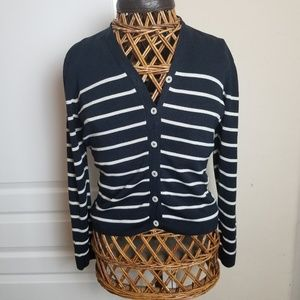 Navy Cardigan with white stripes